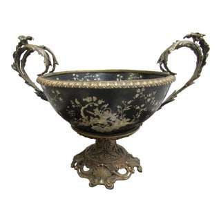 French Louis XV Regency Cloisonné Brass Figural Urn Bowl For Sale