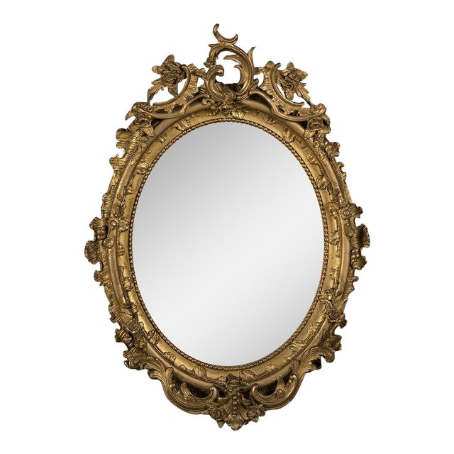 19th Century Gilded Oval Frame French Mirror For Sale