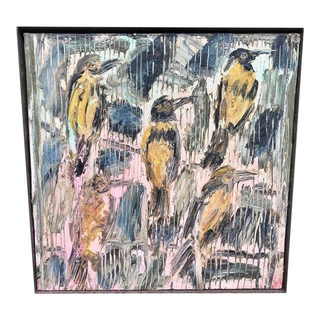 Hunt Slonem Oil Painting on Canvas, Five Birds For Sale