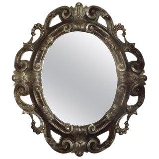 Italian Baroque Ebonized and Silver Gilt Mirror For Sale