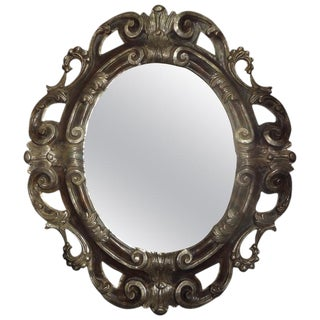 Vintage Italian Baroque Ebonized and Silver Gilt Mirror For Sale