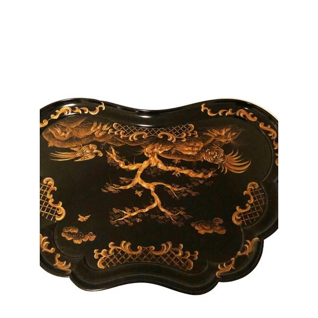 Paint Chinoiserie Karges Furniture Black Lacquer Side Tables - a Pair For Sale - Image 7 of 11