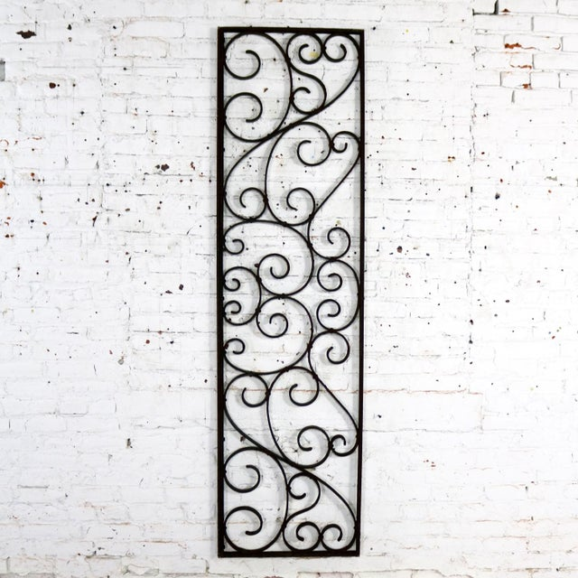 Antique Swirled Design Wrought Iron Railing Piece Trellis or Fence Section For Sale - Image 13 of 13