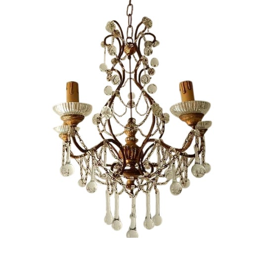 French Baroque Crystal Prisms Swags Old Chandelier For Sale