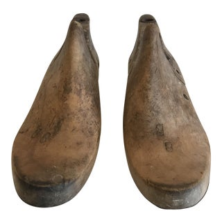 Vintage Wooden Shoe Molds - a Pair For Sale
