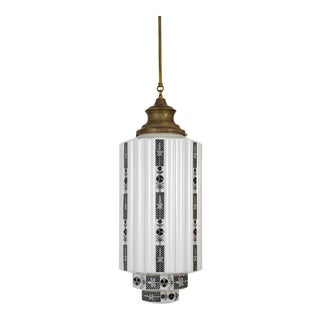1930s White Step Glass Cylinder Deco Pendant For Sale