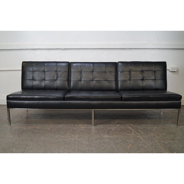 Florence Knoll Mid-Century Black Leather Armless Sofa