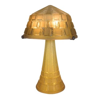 Rare Art Deco Handmade Acid Etched Glass Table Lamp Bronze Supports by Daum