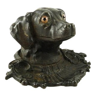 Antique Dog Novelty Inkwell With Glass Eyes & Pen Tray Victorian C 1875 For Sale