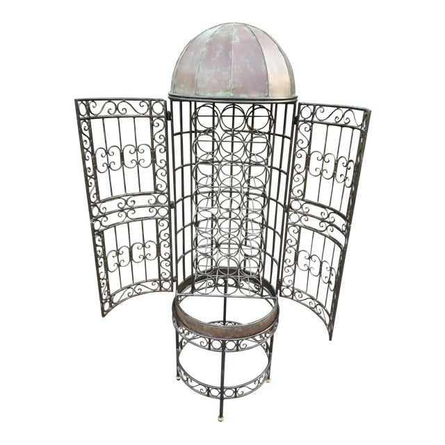 Maitland-Smith Copper Domed and Iron Wine Rack For Sale
