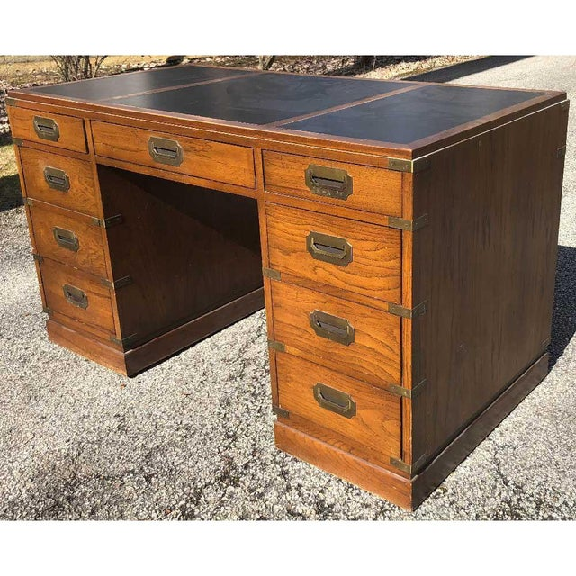 Sligh-Lowry Furniture Co. 1970s Campaign Parnter Desk by Sligh For Sale - Image 4 of 11