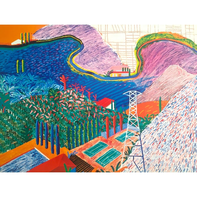 "Rare 1980 David Hockney Original Collotype Print Poster "" Mulholland Drive "" For Sale In New York - Image 6 of 11"