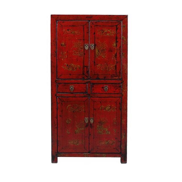 Vintage Oriental Red Graphic Storage Dresser Cabin - Image 1 of 5