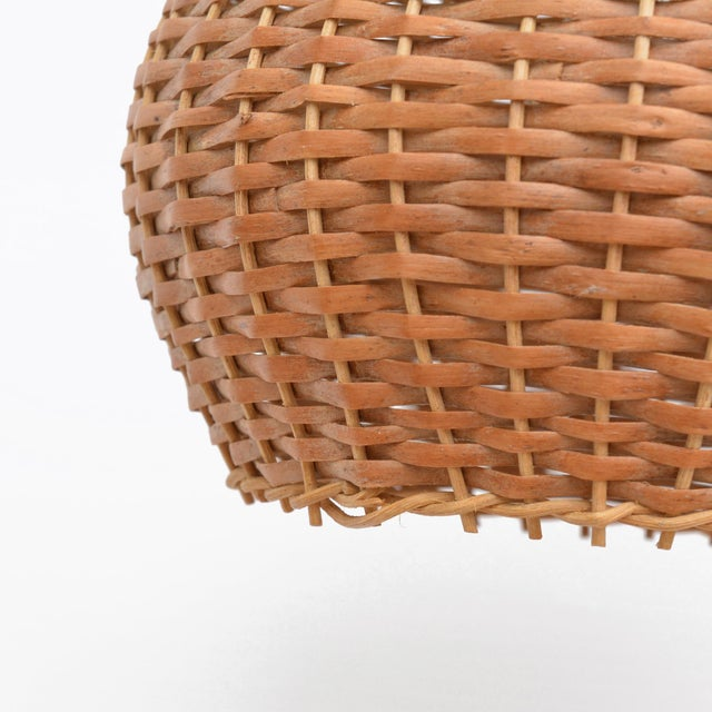 Chestnut 1960s Wicker Lampshade Ceiling Lamp, Denmark For Sale - Image 8 of 11