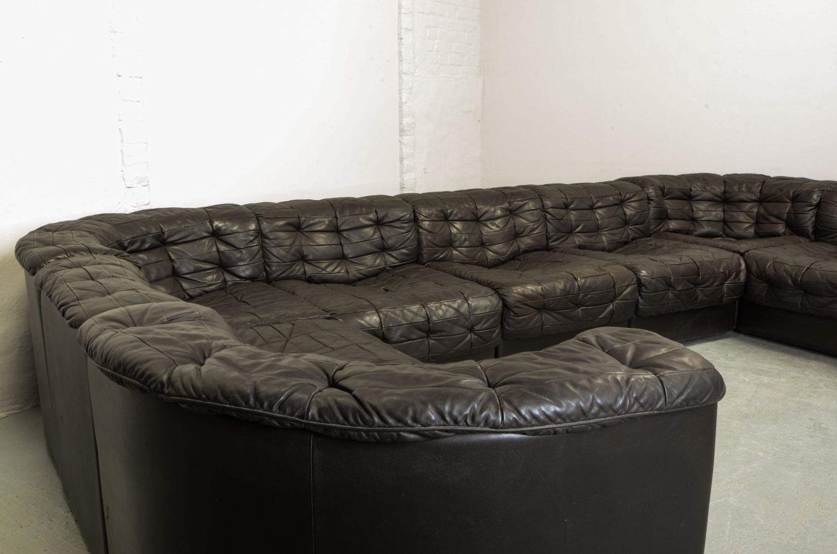 Mid Century Design Patched Brown Leather 9 Elements Modular Sofa Ds11 For  De Sede,