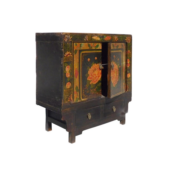 Oriental Black & Orange Floral Side Cabinet For Sale - Image 4 of 6