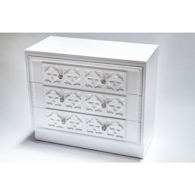 White Lacquer Trellis Dresser - Image 6 of 6