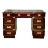 Image of Vintage Drexel Campaign Style Desk For Sale