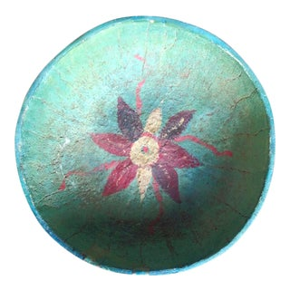 Primitive Turquoise and Floral Gourd Display Bowl For Sale