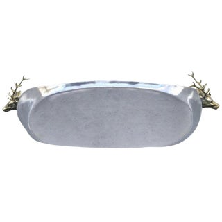 Pewter and Brass Figural Stag Motif Gallery Tray, in the Style of Arthur Court For Sale