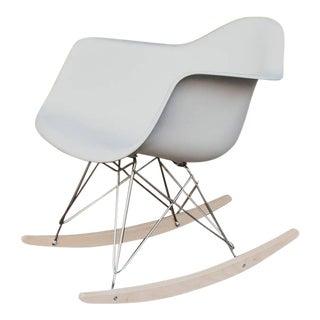 1940s Mid-Century Modern Eames Molded Plastic White Rocker Chair