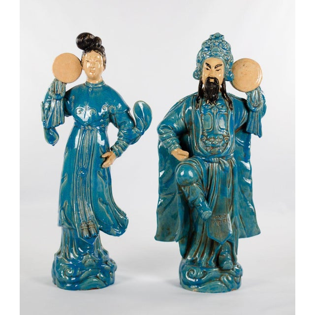Chinese Ming Dynasty Style Male and Female Porcelain Statues - a Pair For Sale - Image 13 of 13