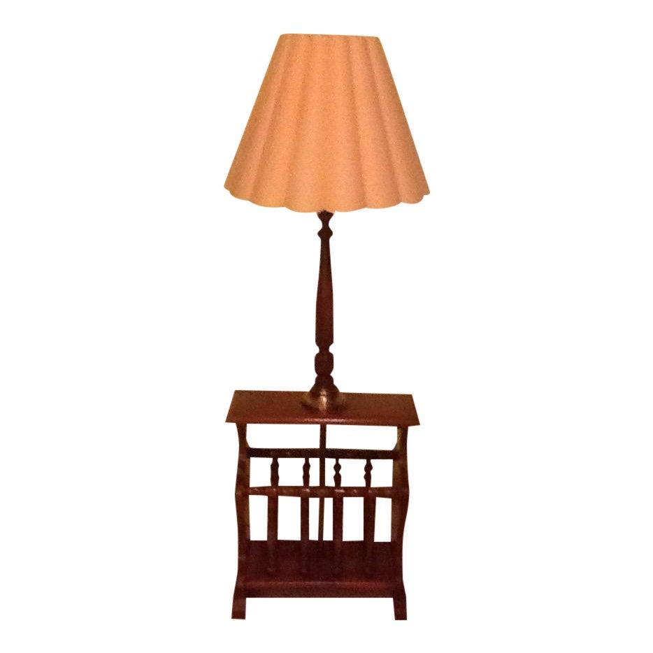 Mid Century Wood And Brass Magazine Rack Side Table Lamp Chairish
