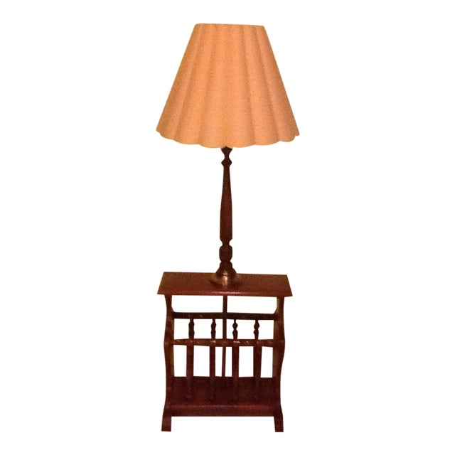 Mid-Century Wood and Brass Magazine Rack/Side Table/Lamp For Sale
