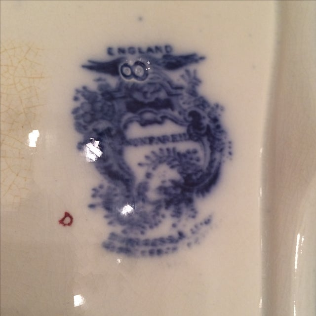 """Flow Blue 12"""" Footed Serving Dish - Image 8 of 10"""