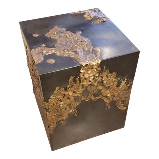 Brutalist Bronze & Brass Cube Side Table For Sale