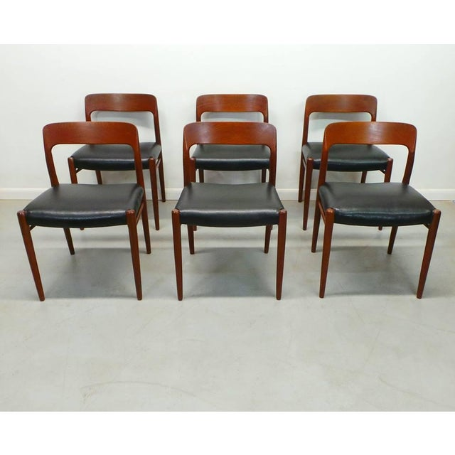 1960s Vintage J.L. Moller Danish Modern Black Dining Chairs- Set of 6 For Sale - Image 9 of 9