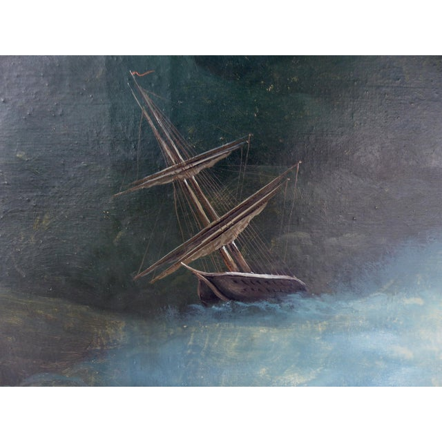 Russian 19th Century Seascape Oil Painting on Canvas. Signed and Dated 1889 Offered for sale is a Russian seascape oil...