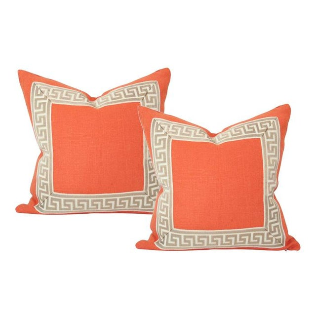 "Schumacher Orange Linen Pillow Covers - a Pair 18""sq For Sale - Image 4 of 4"