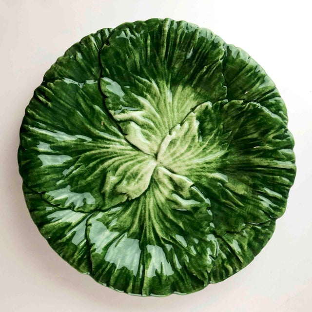 Circa 1995 Green Lettuce Leaf 7 inch Luncheon, Salad Plates. Variegated shades of green. With a see-through on the back of...