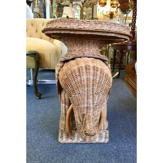Boho Chic Vintage Woven Rattan Elephant Tray Table For Sale - Image 3 of 8