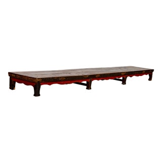 Chinese Antique 1870s Long Red and Black Elmwood Footrest with Weathered Patina For Sale