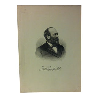 "Antique Black & White Portrait Print, ""j.a. Garfield"", Circa 1890 For Sale"