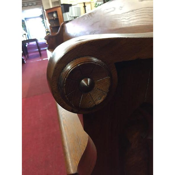 Gothic Antique Walnut and Ash Church Pew For Sale - Image 3 of 10