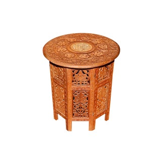 Carved Teak Indian Accent Table For Sale