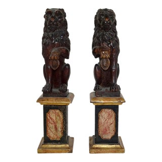 Late 19th Century Bronze Lion Figurines- A Pair For Sale