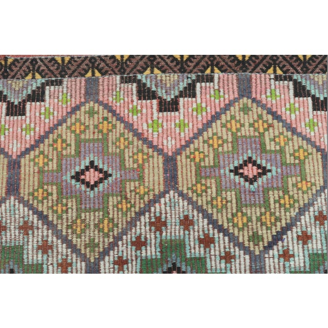 Vintage Turkish Sardes Nomad's Flat Weave Rug For Sale - Image 10 of 12