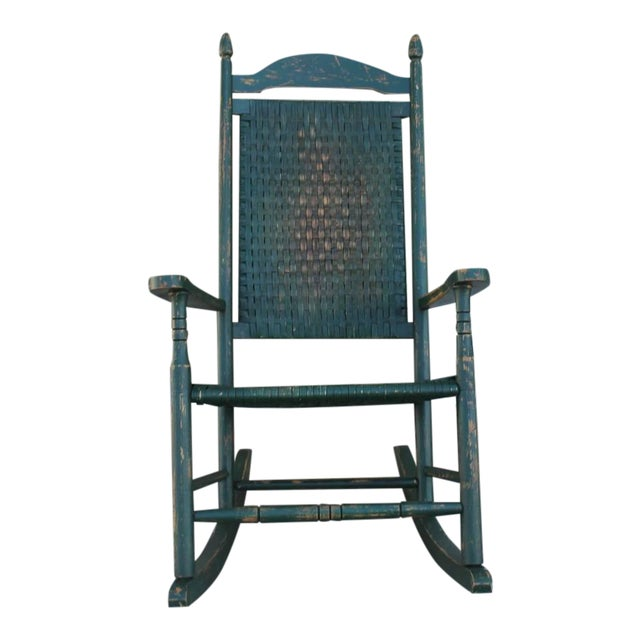 Early 20th Century Original Green Painted Rocking Chair - Image 1 of 7
