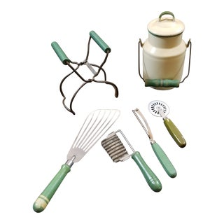1970s Vintage Green Wooden Handled Kitchen Accessories - Set of 6 For Sale