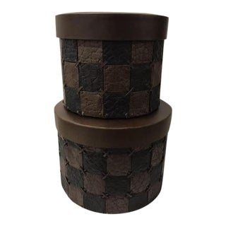 Folk Art Palecek Checkered Leather-Like Stacking Boxes - Set of 2 For Sale