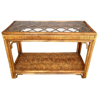 Rattan and Glass Console Table For Sale