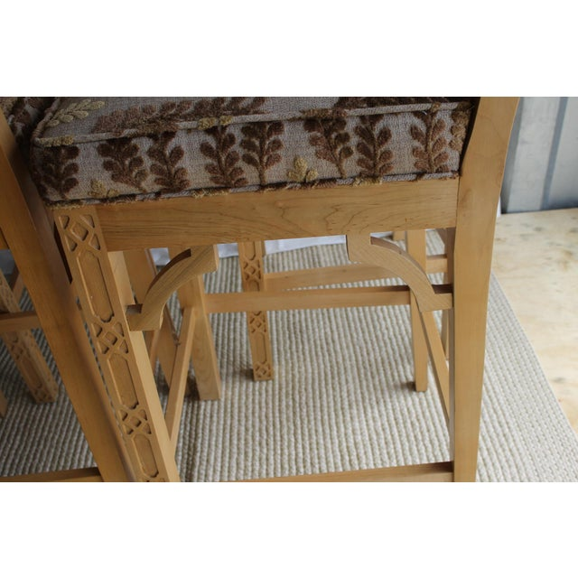 Late 20th Century Chinese Chippendale Chinoiserie Fretwork Bar Stool For Sale In Cincinnati - Image 6 of 13