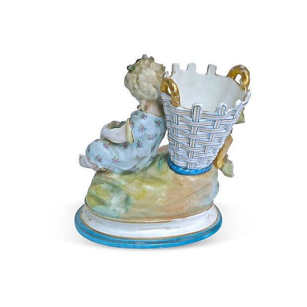 French Antique French Majolica Cherub Vase For Sale - Image 3 of 3