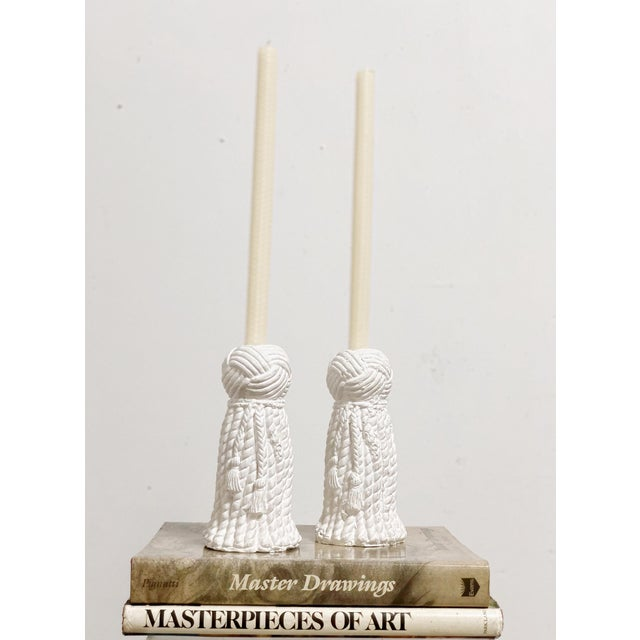 1970s Vintage Rope & Tassel Candlesticks - a Pair For Sale In Atlanta - Image 6 of 9