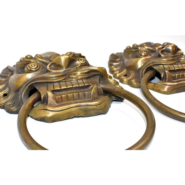 Asian Late 20th Century Vintage Large Lion Mastiff Brass Knockers- a Pair For Sale - Image 3 of 13