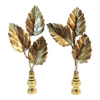 Vintage Italian Triple Tole Leaf Finials by C. Damien Fox, a Pair For Sale